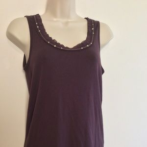 Ann Taylor plum/ brown embellished tank top small